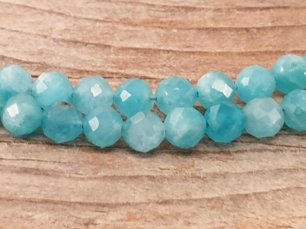 amazonite necklace faceted 4mm