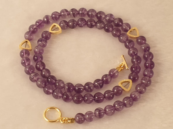 amethyst necklace 6mm/44cm