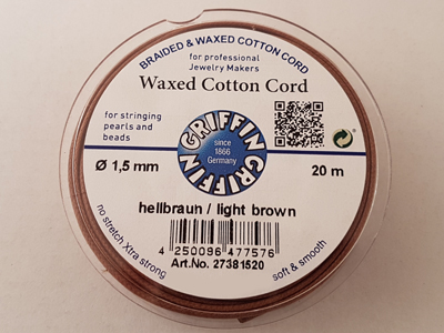 waxed cotton cord, light brown, 1.5mm/20m