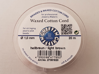 waxed cotton cord, light brown, 1.0mm/20m