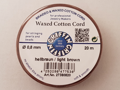 waxed cotton cord, light brown, 0.8mm/20m