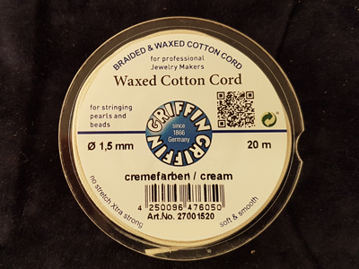 waxed cotton cord, cream, 1.5mm/20m