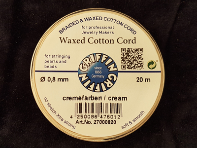 waxed cotton cord, cream, 0.8mm/20m