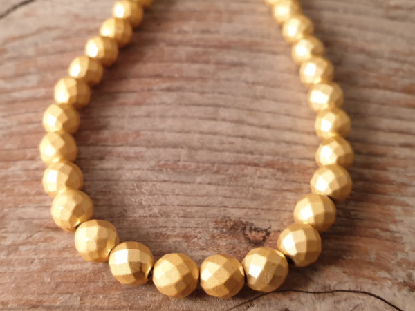 hematite necklace gold 6mm