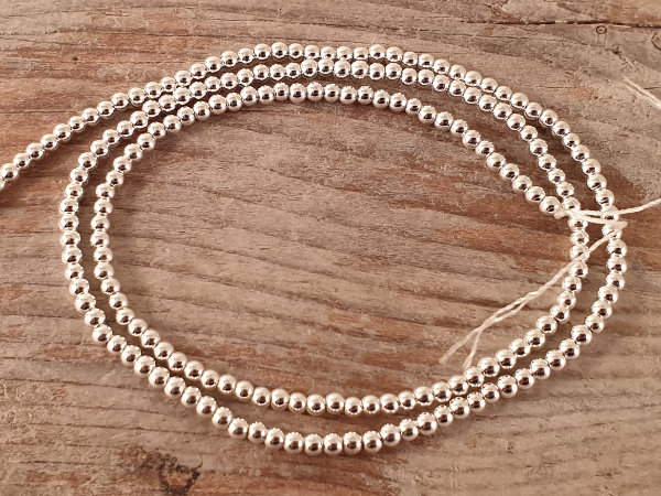 hematite necklace silver 2mm