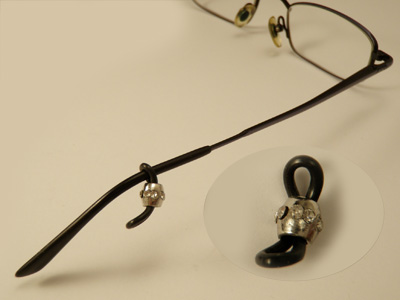 glasses holder (2 pcs), metal silver color