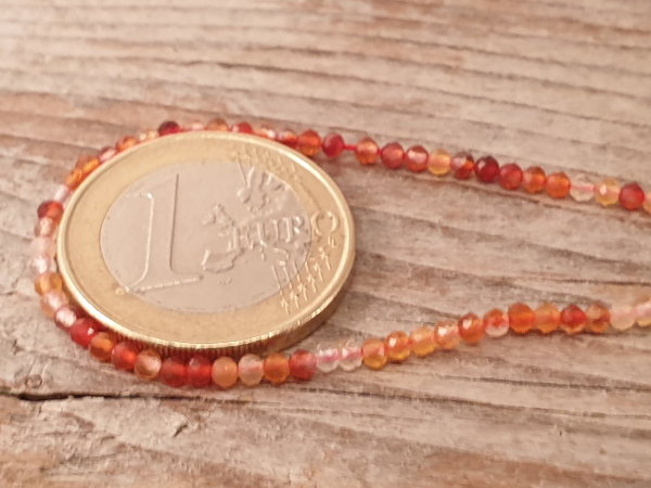carnelian necklace faceted 2mm