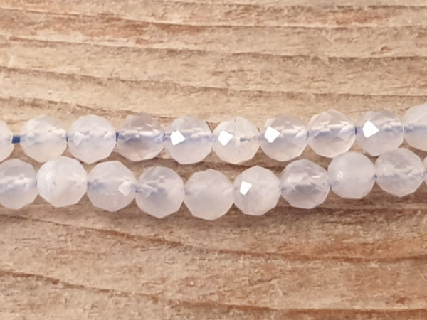 chalcedony necklace faceted 4mm