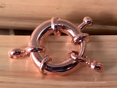 Federring 15mm Messing Rosegold vergoldet