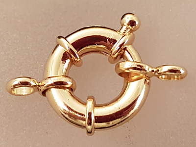 clasp 15mm brass gold plated