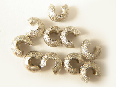crimp cover 3mm, silver color, 10 pcs