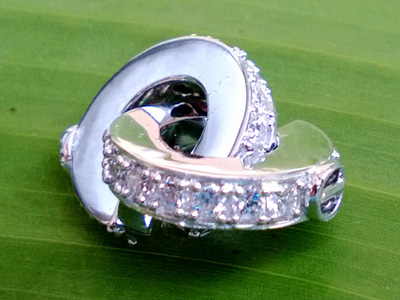 clasp 14mm silver rhodium plated, rhinestone