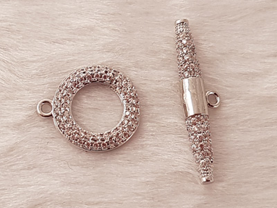 clasp 14mm with rhinestone, metal-silvercolor