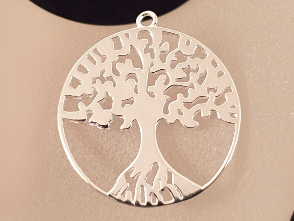 tree of life 25mm, silver rhodium plated