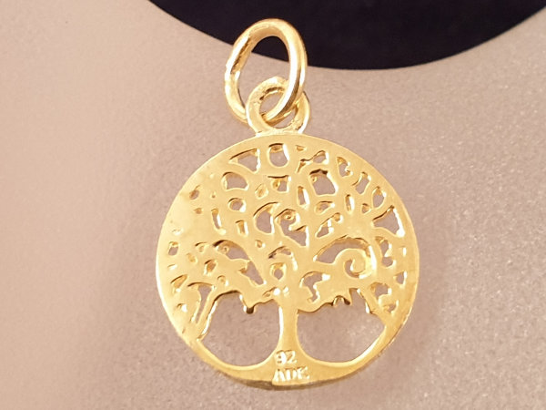 tree of life 15mm, silver gold plated