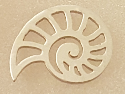 finding-link, ammonite 14mm, stainless steel