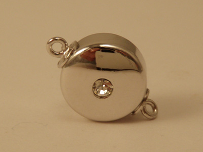 magnetic clasp 12*6mm rhodium plated, rhinestone