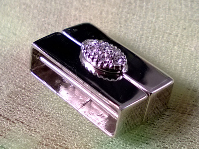 magnetic clasp 16x10mm rhodium plated
