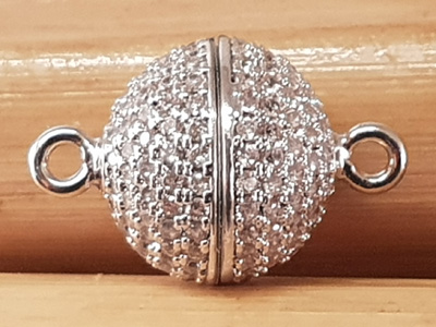 magnetic clasp 12mm silvercolor, rhinestone, glued