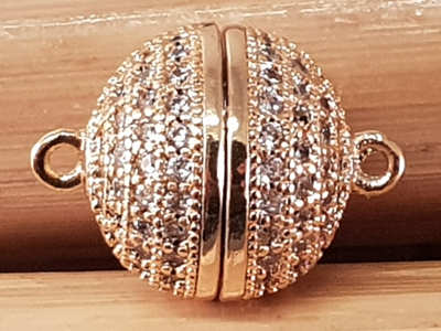 magnetic clasp 12mm gold plated, rhinestone, glued