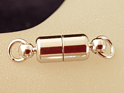 magnetic clasp 5x16mm rhodium plated, glued
