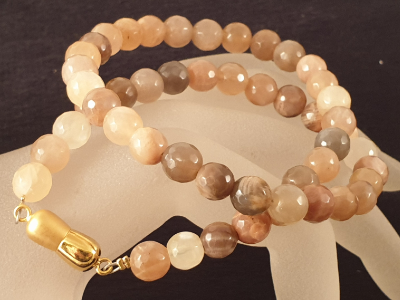 moonstone necklace faceted 8/43 w/ magnetic clasp