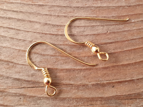 2 pcs earhook 18mm, silver gold plated