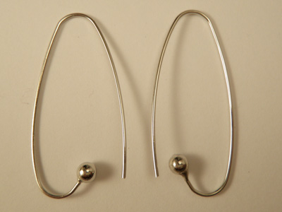 earhook 38mm (2 pcs), metal silvercolor
