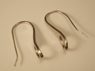 earhook 27mm (2 pcs), metal silvercolor