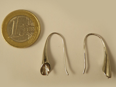 earhook 26mm (2 pcs), metal silvercolor