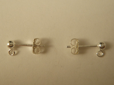 2 pcs earring 3mm, silver