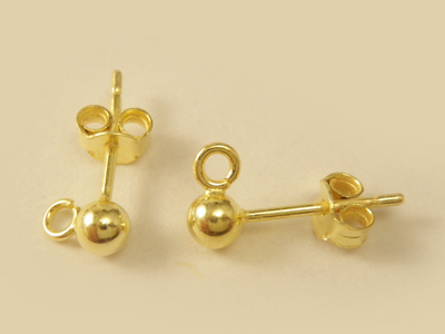 2 pcs earring 4mm, silver goldplated