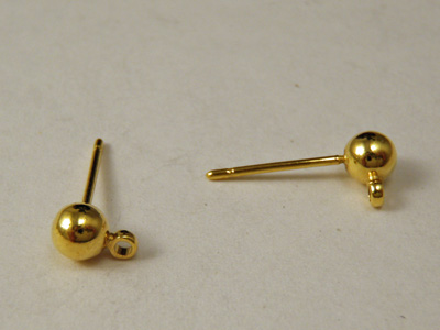Ohrstecker 4mm (2 Stk), Messing vergoldet