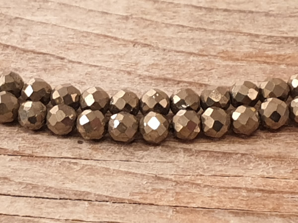 pyrite necklace faceted 3mm