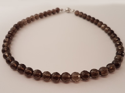 smokey quartz necklace faceted 8/42 w/ magnetic clasp