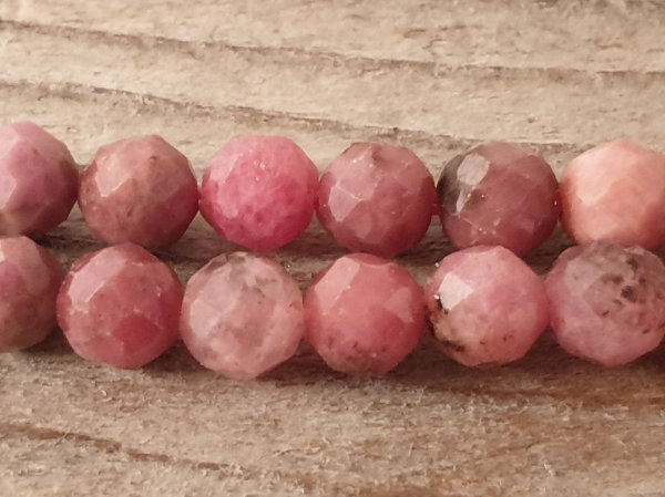 rhodonite necklace faceted 4mm