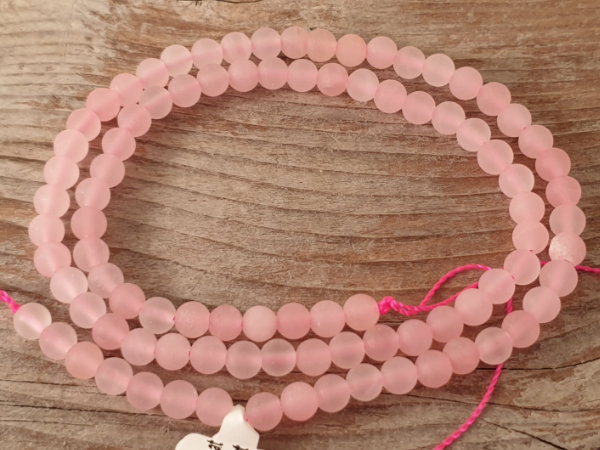rosequartz necklace mat 4mm