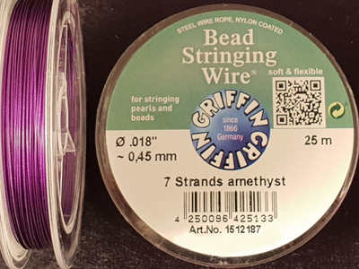 bead stringing wire 0.45mm/25m/7str amethyst