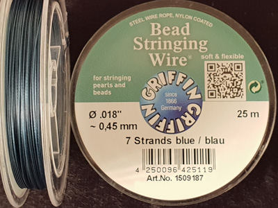 bead stringing wire 0.45mm/25m/7str blue