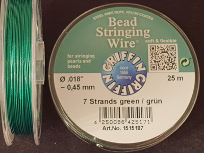 bead stringing wire 0.45mm/25m/7str green