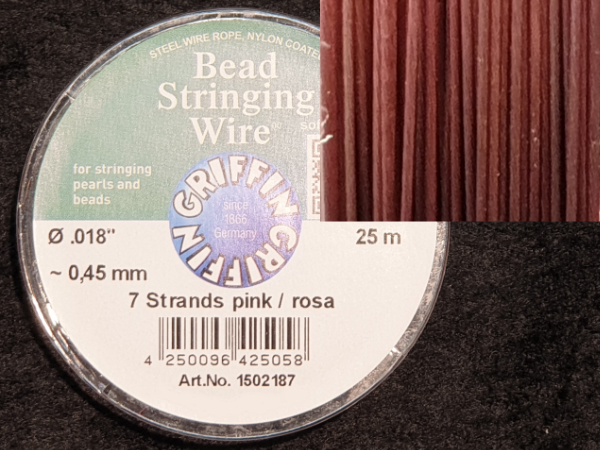 bead stringing wire 0.45mm/25m/7str pink