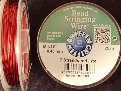 bead stringing wire 0.45mm/25m/7str red