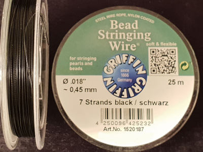 bead stringing wire 0.45mm/25m/7str black
