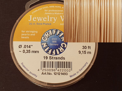Jewelry Wire 0.35mm/9.15m/19str 24ct VERGOLDET