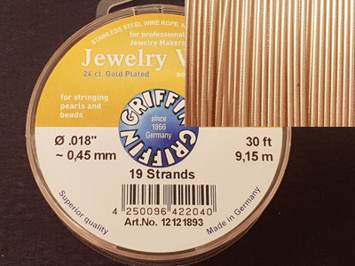 Jewelry Wire 0.45mm/9.15m/19str 24ct VERGOLDET