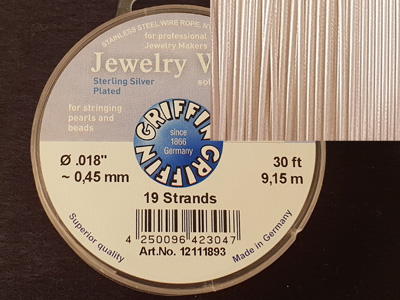 Jewelry Wire 0.45mm/9.15m/19str 925 VERSILBERT