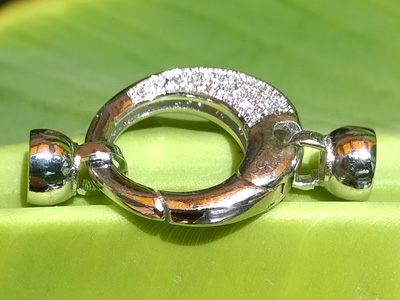 clasp 33mm with rhinestone, metal-silvercolor