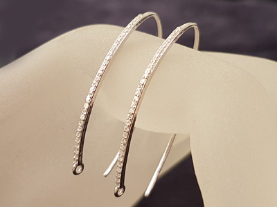 2 pcs earhook 36mm, silver rhodium plated, rhinestone