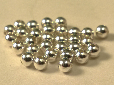 finding, bead 2.5mm (30 pcs), silver