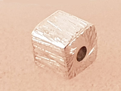 finding, cube 3mm, silver